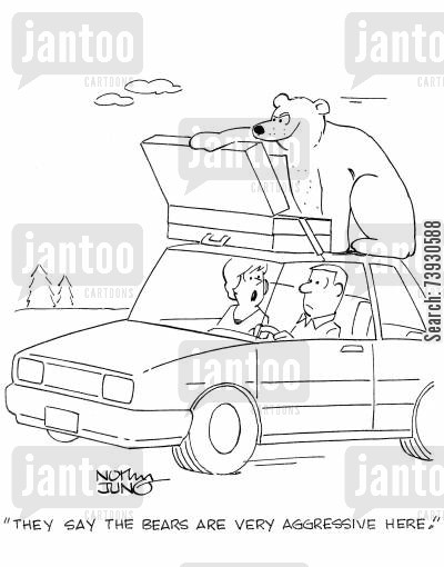 camping vacations cartoon humor: 'They say the bears are very aggressive here.'