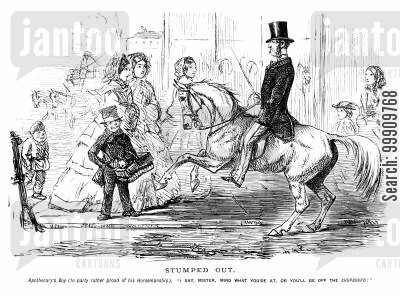 display cartoon humor: Boy and horse rider