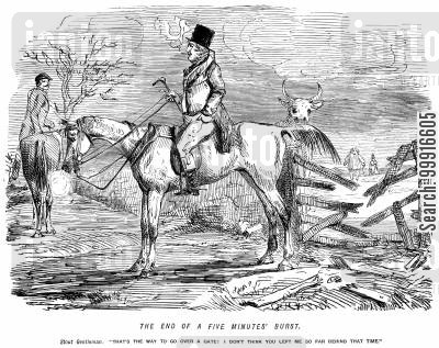 horse jumping cartoon humor: Stout gentleman: 'That's the way to get over a gate! I don't think you left me so far behind that time.'