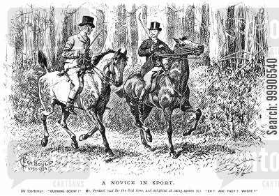 burning scents cartoon humor: Two hunters following a burning scent