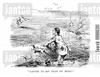 tales of woe cartoon humor: Listen to my tale of woa!