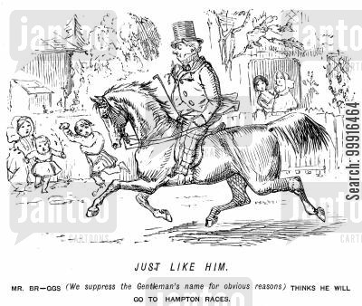 day out cartoon humor: Man riding to Hampton Races