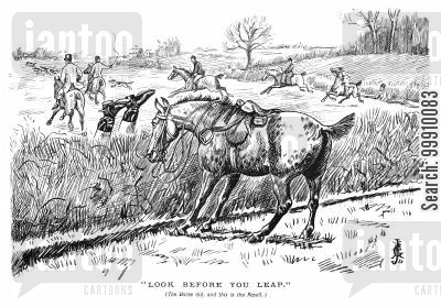 halt cartoon humor: Huntsman falling off his horse