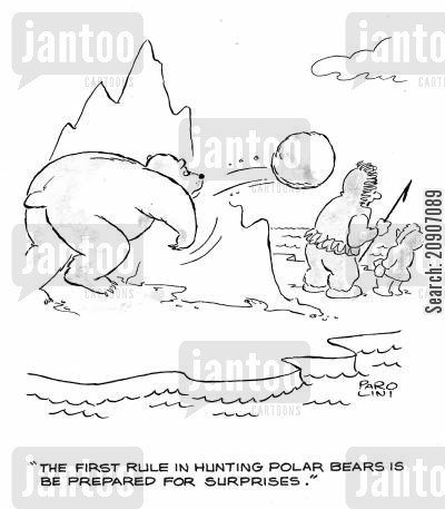 polar bear hunting cartoon humor: 'The first rule in hunting polar bears is be prepared for surprises.'
