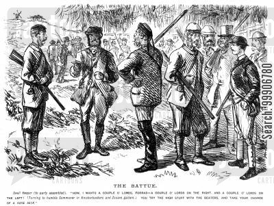 knickerbockers cartoon humor: Some gentlemen preparing for a hunt