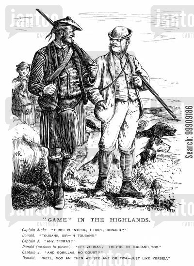 hunting parties cartoon humor: Hunting Party in the Highlands.