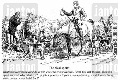 horseback cartoon humor: A huntsman and his hounds.