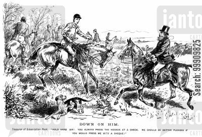 subscription pack cartoon humor: Huntsman pressing the hounds