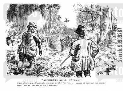 hunting party cartoon humor: Out Hunting.