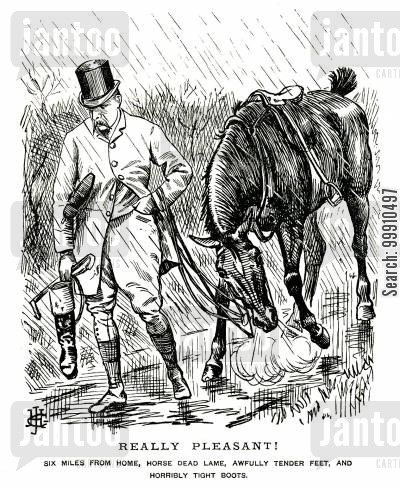 injured cartoon humor: Huntsman in the rain