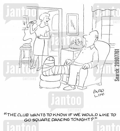 square dances cartoon humor: 'The club wants to know if we would like to go square dancing tonight?'