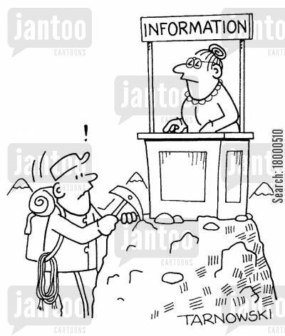 information desk cartoon humor: Information desk at the top of a mountain.