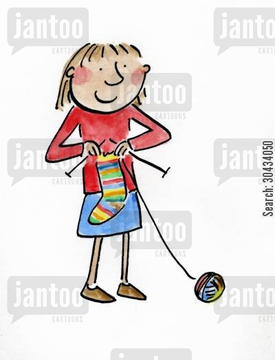knitting needles cartoon humor: Knitting ball