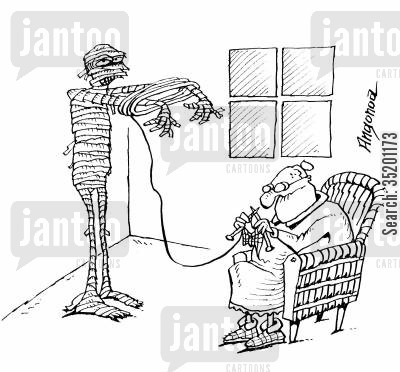 old lady cartoon humor: Old lady using a mummy as a knitting aid.
