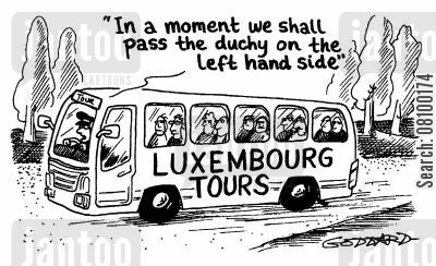 duchy cartoon humor: Luxemburg Tours -In a moment we shall pass the duchy on the left hand side
