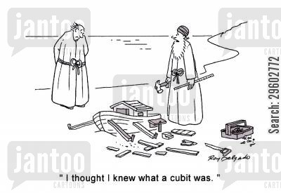 made cartoon humor: 'I thought I knew what a cubit was.'