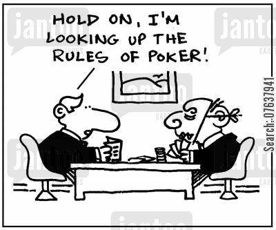 poker masks cartoon humor: 'Hold on, I'm looking up the rules of poker.'
