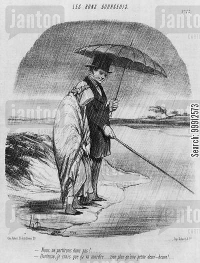 married couple cartoon humor: Les Bons Bourgeois - Man fishing in the rain with his bored wife