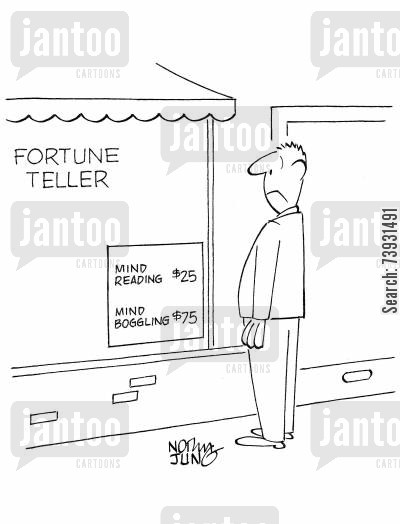 eureka moments cartoon humor: Man sees sign at fortune teller featuring mind reading and mind boggling