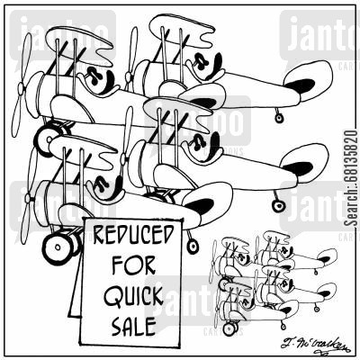 airplane model cartoon humor: Reduced for Quick Sale.