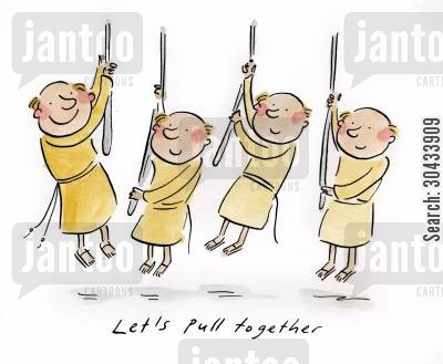 bell ringers cartoon humor: Let's pull together.