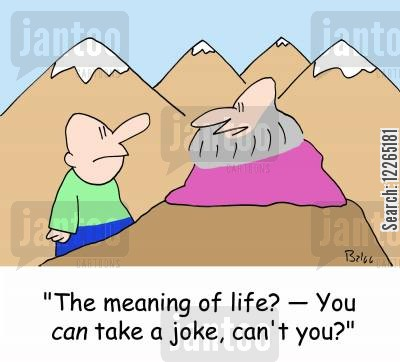 meanings cartoon humor: 'The meaning of life -- You CAN take a joke, can't you'