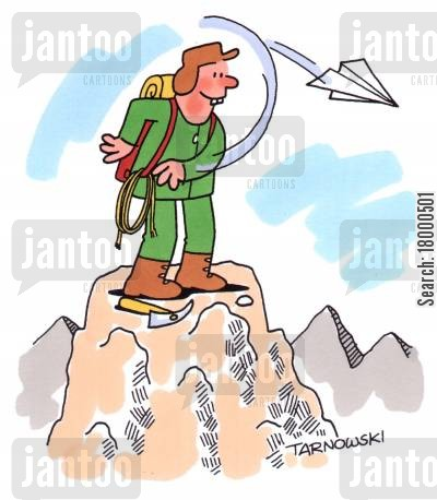 summit cartoon humor: Throwing a paper aeroplane from the top of a mountain.
