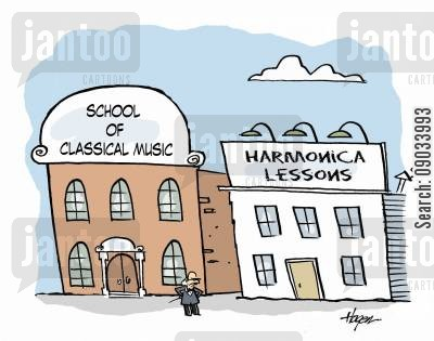 music teacher cartoon humor: School of Classical Music vs Harmonica Lessons.