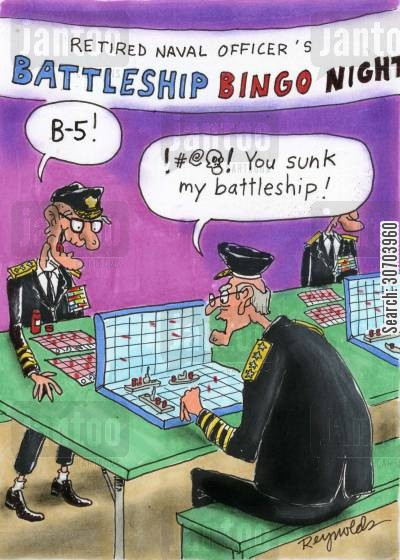 navy officers cartoon humor: Battleship Bingo Night.