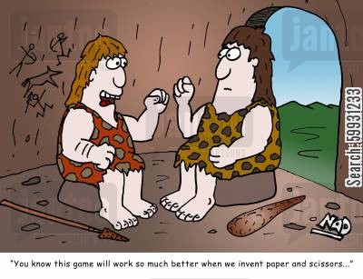 scissor cartoon humor: 'You know this game will work so much better when we invent paper and scissors...'