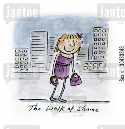 partiers cartoon humor: The Walk of Shame