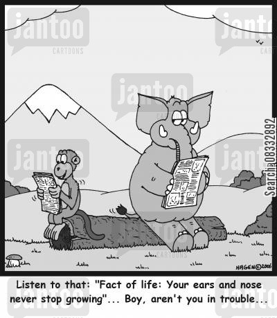 facts of life cartoon humor: Listen to that: 'Fact of life: Your ears and nose never stop growing'... Boy, aren't you in trouble...