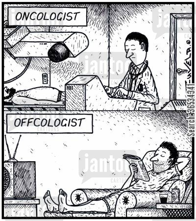 oncologist cartoon humor:  An Oncologist at work and on days off at home