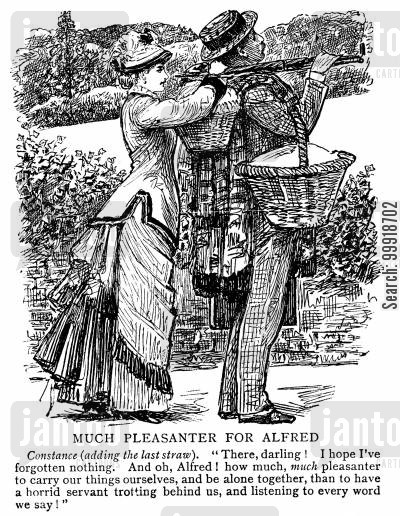 country picnic cartoon humor: 'Much Pleasenter for Alfred'