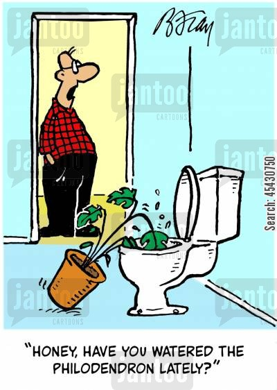 garden cartoon humor: 'Honey, have you watered the philodendron lately?'