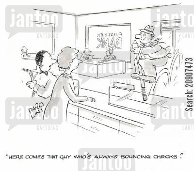 pogo cartoon humor: 'Here comes that guy who's always bouncing checks.'