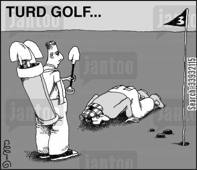 tricky shot cartoon humor: Turd golf...