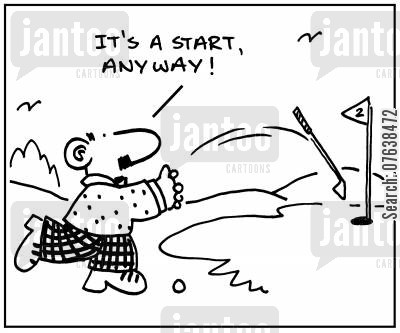 golf green cartoon humor: 'It's a start, anyway.'