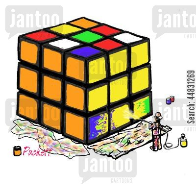 rubiks cube cartoon humor: A very committed painter cheats in solving an old favorite ...