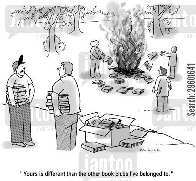 bookworms cartoon humor: 'Yours is different than the other book clubs I've belonged to.'