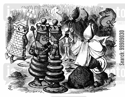 playing chess cartoon humor: Alice Through The Looking Glass - The Red King and the Red Queen.