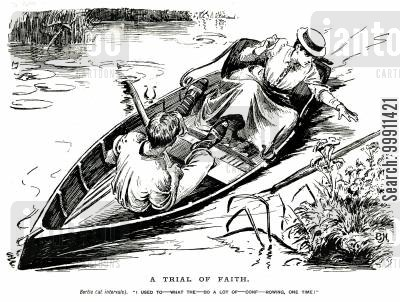 river bank cartoon humor: Man struggling to row,