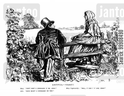 dating cartoon humor: Couple look out over a field