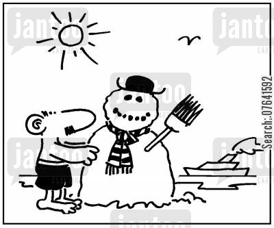 summer times cartoon humor: 'Beach snowman.'