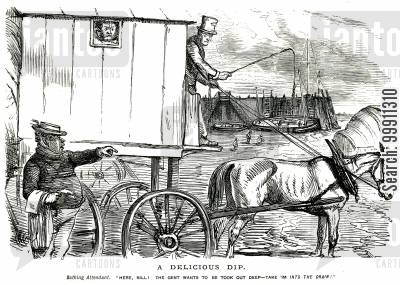 bathing cartoon humor: A man in a bathing machine