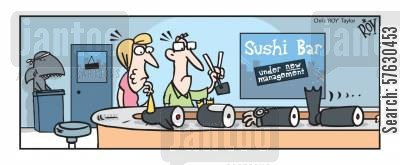 diving equipment cartoon humor: Sushi bar...under new management