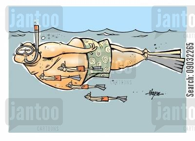 snorkeler cartoon humor: Small snorklers following large snorkler.