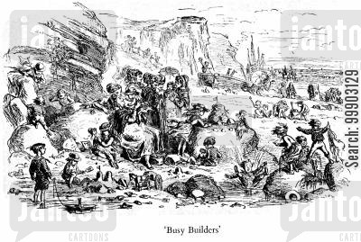 duildin industry cartoon humor: 'Busy Builders' at the Seaside