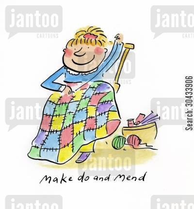 duvet cartoon humor: Make do and mend