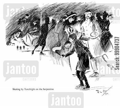 evening cartoon humor: Skating by torchlight on the Serpentine.
